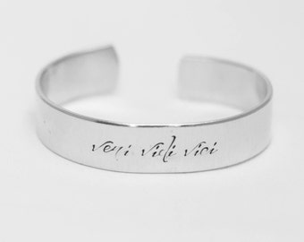 Veni Vidi Vici / I Came, I Saw, I Conquered / Latin Quote Jewelry / Inspirational Jewelry / Inspirational Bracelet