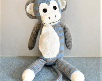 Hand Knitted Plush Toy Monkey White Blue and Grey Lightly Stuffed New Born Baby Gift Idea