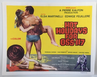 Hot Holidays for OSS-117 Set of 8 Lobby Cards 1970s French Spy Film OSS 117 prend des vacances
