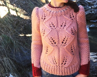 Baby Alpaca Chunky Hand Knit Sweater, Alpaca Sweater, Warm Sweater, Pink Sweater, Puff Sleeves, Women's Wool Sweater