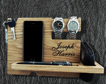 Docking Station, mens personalized, iPhone Docking Station, iphone charging, Gift for Men, iphone organizer,  iPhone dock, Mod09038