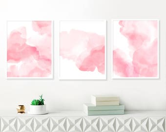 Pink Abstract Art, Modern Art Prints, Pink Watercolour Paintings, Set of three Abstracts, Nursery Art, Large Blush Pink Paintings, Printable
