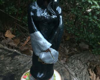OOAK Wiccan Themed Figurine, Dark Witch, African American Witch
