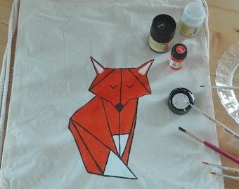 Kitbag origami Fox, orange, hand-painted