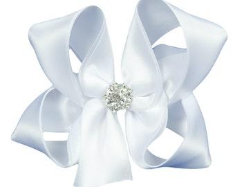 White Satin Boutique Hair Bow-Flower Girl Hair Bow-Girls Boutique Boutique Hair Bow