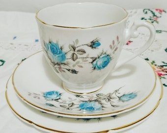 Vintage 1950s Royal Grafton Fine Bone China trio - Teacup / cup and saucer, side / dessert plate Blue Rose pattern gift idea / afternoon tea