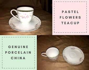 Vintage Teacup and Saucer- Pastel Flowers