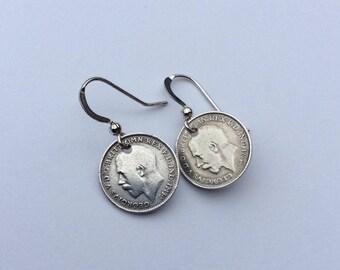 Solid silver genuine vintage three pence earrings George V
