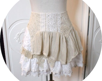 Skirt short trapeze cotton and old lace, skirt petticoat skirt style lingerie in cotton embroidery, ecrue English