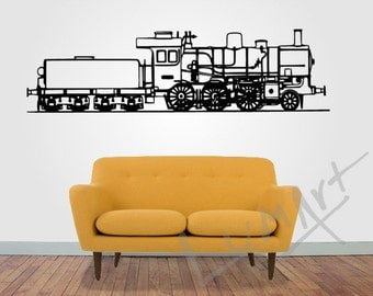 Vintage TRAIN STEAM LOCOMOTIVE wall Sticker  ,  Wall Art Decor Decal Vinyl Sticker Mural Train - by Lumart
