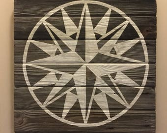 Compass Quilt Square Medallion - Hand-Painted Reclaimed Grey Barn Wood Decor - Rustic Sign
