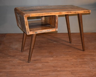 rustic distressed reclaimed solid wood desk study table library table