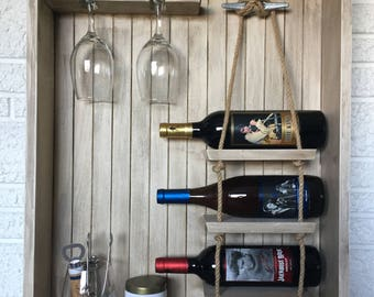 Nautical Wine Rack, Coastal Wine Storage, Wall Hanging Wine Rack, Wine Shelving, Bar Storage, Portable Bar