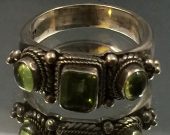 Three Emerald stone solid silver Ring size 7