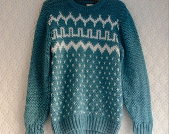 Vintage 1970s chunky knit teal and cream patterned jumper - Medium/Large
