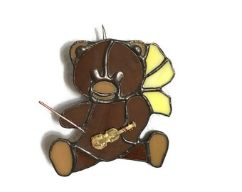 Stained glass musical bear with yellow bow suncatcher tiffany