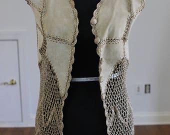 Cute Vintage Leather Suede Macrame Fringe Patchwork 70s Vest Size Small