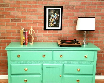 SOLD! Mint Green Six Drawer Dresser *SOLD*