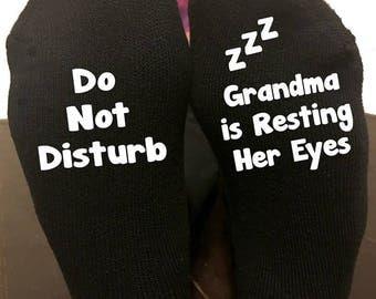 Do Not Disturb Grandma Nana Granny Is Resting Her Eyes Socks Womens Socks Birthday Mothers Day Gift Gift For Her