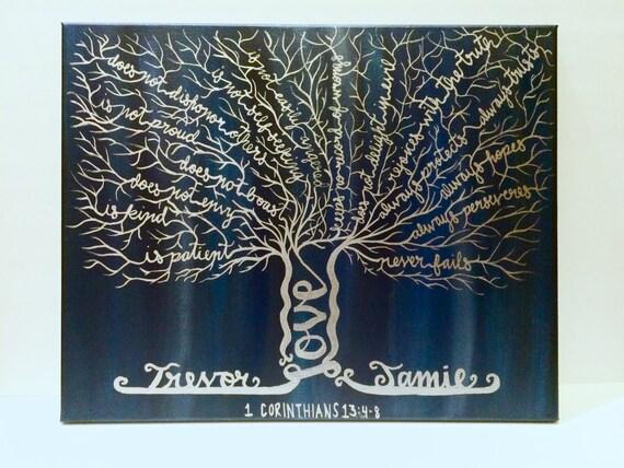 1 corinthians 13 love tree scripture canvas personalized. Black Bedroom Furniture Sets. Home Design Ideas