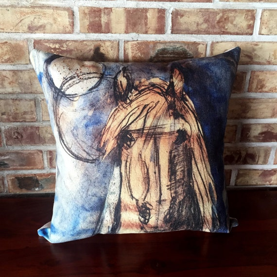 Modern Rustic Pillow : Rustic Modern Blue Horse Linen Pillow Cover