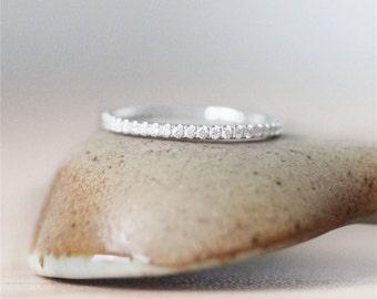 FullEternity*14K White Gold Ring*Vintage Bridal Wedding Band* Diamond Wedding &Engagement Band*Anniversary Ring*Solid Gold Diamond Band