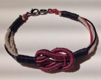 man made beige bordeaux black leather hand knot bracelet