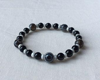 Eyeagate • Morion • Magnesite Bracelet
