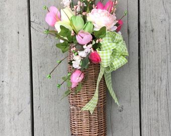 Rustic Spring Basket   Spring Door Decor   Spring Basket   Spring Flowers    Housewarming Gift