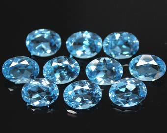 Lot of 5 Pieces  Natural Swiss Blue Topaz  Oval Cut  Loose Gemstone For Jewelry