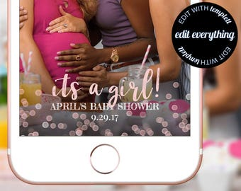 Its a Girl Baby Shower Snapchat Geofilter, Snapchat Baby Shower filter, Baby Shower Geofilter, Baby Shower Snapchat filter, Custom Geofilter