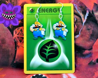 Wario Land inspired Mario Earrings, Wario Earrings, Super Mario Earrings
