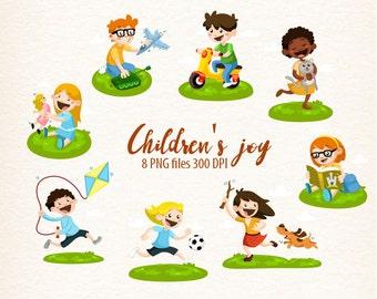 children, Children's joy, kids clipart, toys, playing clipart, friends