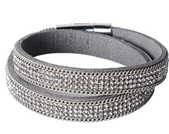 Sparkling high quality soft leather wrap with CZ rhinestones and magnetic closure