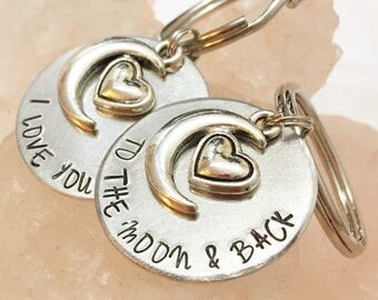 I Love You To The Moon and Back, Gift for Him, Anniversary Gift, Couples Keychain Set, Boyfriend Gift, Girlfriend Gift, Gift for Her