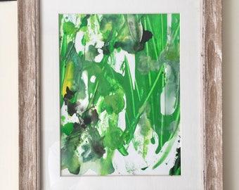 Original Mixed Media Painting Small Green
