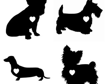 Dog Heart Decal Sticker for Car or Laptop