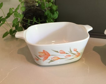 Vintage Corningware 'Peach Floral' Petite Dish