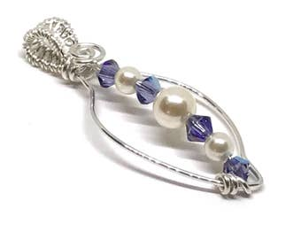 Sterling Silver Leaf Pendant, Pearls & Crystals, Purple, Gift For Her