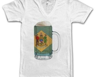 Ladies Delaware State Flag Beer Mug Tee, Home State Tee, State Pride, State Flag, Beer Tee, Beer T-Shirt, Beer Thinkers, Beer Lovers Tee