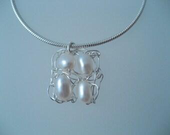 Fine Silver Freshwater Pearl Square Pendant