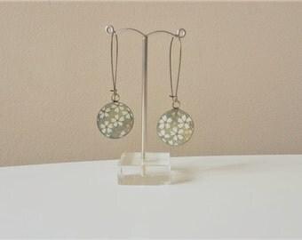 Earrings dangling Medallion Japanese paper