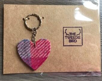 Harris Tweed Heart Keyfob / Key Ring