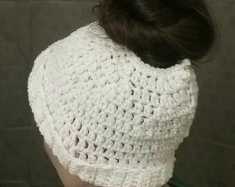Ponytail hat, messy bun hat, ponytail beanie, messy bun beanie, crochet beanie, mom bun hat, hat for ponytail, knit beanie, ear warmer, hat