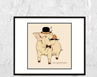 Nursery animal pig print, nursery decor, gift for men, gift for him, nursery wall art, baby pig print, kids art, baby animals, piglet print