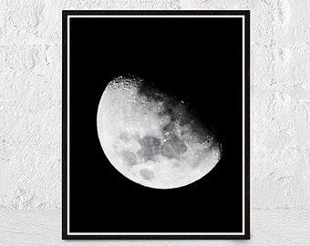 moon print, moon poster, moon art, moon wall art, moon phases, Realistic Moon, Screenprint, Gift Idea, la lune print, space print, poster