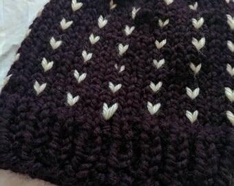 Little Hearts Hat | Fair Isle Knit Hat | Knit Winter Hat with Pom