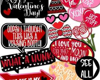 Valentine's Day Photo Booth Props - 32 Printable Props, Valentine's Day Party Props, Candy Hearts, Arrows, Lips, Bows - INSTANT DOWNLOAD PDF