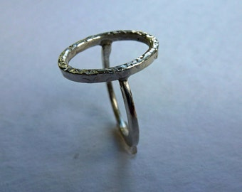 Silver ring, oval circle, forged,.