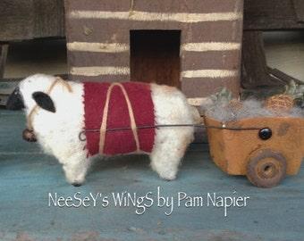 Primitive Folkart Wool Sheep, Handmade OOAK,Primitive Folkart Decor, Needle Felted, Soft Sculpture, NeeSeY's Wings, Rustic Country